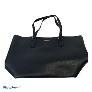 """White black leather """"look"""" Tote bag"""